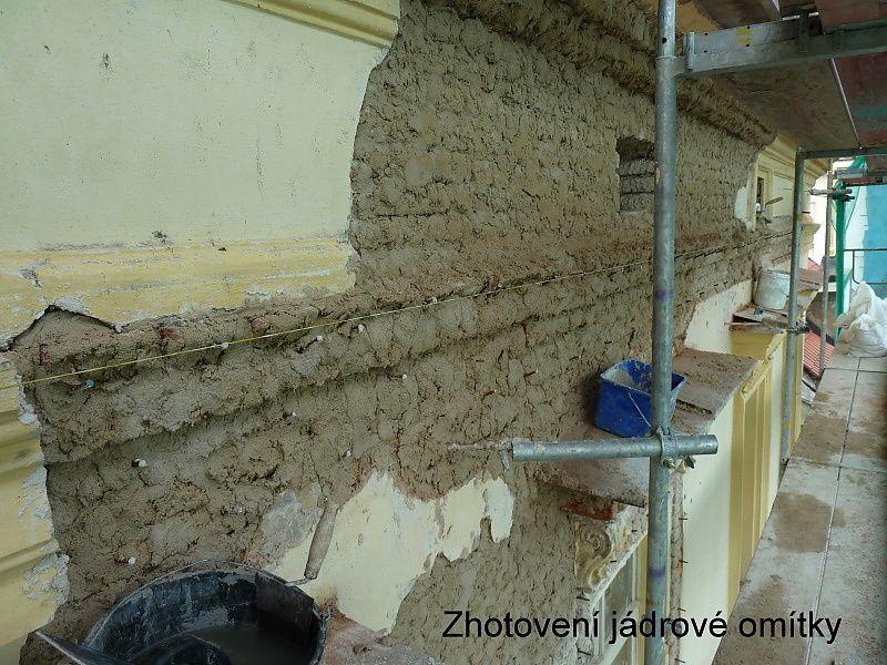 Oprava fasády Na Příkopě 16, jádrová omítka