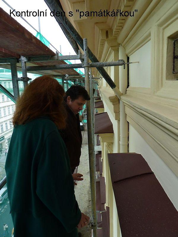 Oprava fasády Na Příkopě 16, kontrolní den